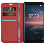 Leather Wallet Case & Card Slot Holder for Nokia 8 Sirocco - Red